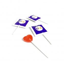 Леденец на палочке Сердце с логотипом